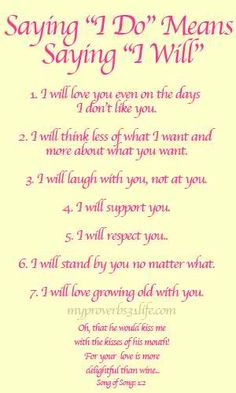 Saying I Do - means Saying I Will: Wedding vows