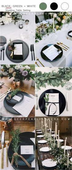 black greenery and white wedding table setting ideas Wedding Table Centerpieces, Wedding Table Settings, Wedding Table Numbers, Wedding Decorations, Martha Stewart, Color Of The Year 2017 Pantone, Parts Of A Flower, White Wedding Bouquets, Wedding Signage