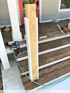 How To Build Porch Step Railing - Addicted 2 Decorating® Building The Front Porch Steps – Part 3 – Adding The Railing and Handrail - Addicted 2 Decorating® Porch Step Railing, Porch Handrails, Outdoor Stair Railing, Front Porch Railings, Front Stairs, Front Porch Design, Porch Columns, Porch Railing Designs, Front Entry