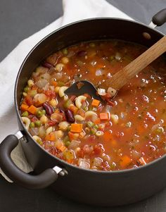 simple, satisfying minestrone soup is thick with beans, vegetables, pasta, and flavor. Vegetarian Recipes, Cooking Recipes, Healthy Recipes, Free Recipes, Soup And Salad, Soups And Stews, Sandwiches, Favorite Recipes, Meals