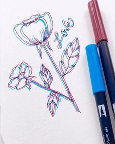 Pencil Art Drawings, Cool Art Drawings, Art Drawings Sketches, Easy Drawings, Brush Pen Art, Doodle Art, Doodle Ideas, Glitch Art, Art Tutorials