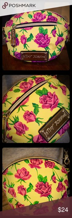 """Betsy Johnson yellow rose cross body Beautiful yellow rose multi colored dome cross body mini 7"""" W x 6""""H.  Shoulder to bag 24"""" total length 29"""" in great condition. Betsey Johnson Bags Crossbody Bags"""