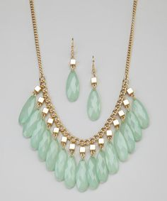 Take a look at this Green Beads Bib Necklace & Earrings by GemBella on #zulily today!