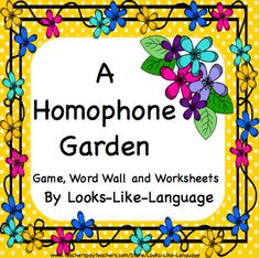 Word wall with or without pictures, a great game and worksheets for common primary level homophones. Learn while having fun! Pictures support learning at Looks-Like-Language! $