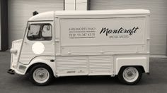 """MONTCRAFT - Branded Company Van: Citroen H (port side) © 2014, Montcraft Preparing the Summer season... soon on the road on duty! """"AEROMODELLING Custom services Maintenance Call: 91 347 45 51"""" Before you leave why not give us a salute in: www.facebook.com/Montcraft.VintageRacers"""