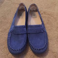 UGG Moccasins Adorable & comfortable blue UGG moccasins. Have been worn but in good condition.  **Final Sale** UGG Shoes Moccasins