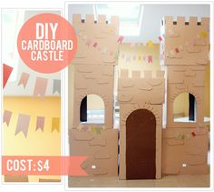DIY Cardboard Castle ~ Tutorial by The Busy Budgeting Mama great to have at a princess party Projects For Kids, Diy For Kids, Craft Projects, Crafts For Kids, Cardboard Castle, Cardboard Crafts, Cardboard Boxes, Cardboard Play, Diy Karton