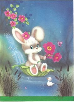 Cute Animal Illustration, Cute Cartoon, Crafts For Kids, Cute Animals, Teddy Bear, Bunny Rabbits, Nostalgia, Painting, Sweet