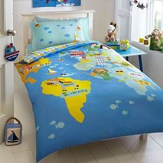 Drap tri ging tr em ti 365ok l b drap ging cho b cc d boys blue around the world bedding set kids bedroom gumiabroncs