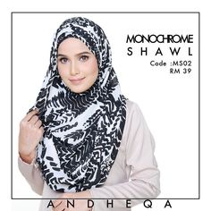 Monochrome Shawl . Buy 2 pcs @ RM50 only! Size 2m x 0.8m . Material chiffon crepe. Whatsapp for order 6016-2604642 #andheqashahalam
