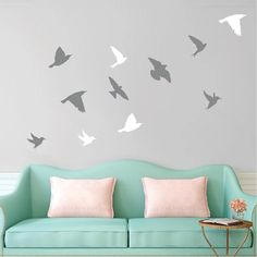 Interior Bird Wall Decals area a inexpensive way to decorate. Did you know Some bird species are intelligent enough to create and use tools? Wall Stickers Birds, Bird Wall Decals, Animal Wall Decals, Bird Wallpaper, Wall Murals, Wall Art, Wall Design, Bedroom Decor, Bird Species