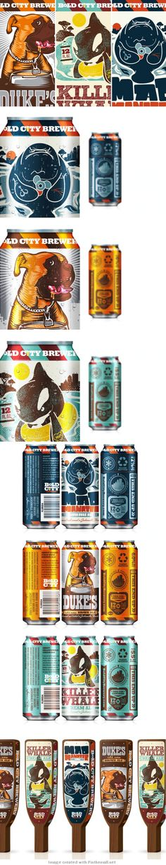 These cans have a great colorful illustrations that also feel very vintage. They remind me of the old Soviet propaganda posters, with there vibrant colors and black outlines on all of the images.