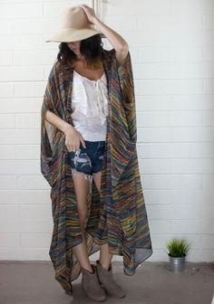 printed chiffon long oversized kimono by jamessociety on Etsy, $88.00
