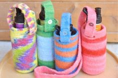 Ravelry: waldorfmama felted water bottle carrier pattern by shelley caskey Water Bottle Carrier, Water Bottle Covers, Purse Patterns, Knitting Patterns, Knitting Projects, Waldorf Crafts, Reusable Water Bottles, Summer Knitting, Bottle Crafts