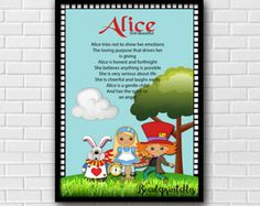 Name Meaning Print, Alice in Wonderland Theme, Custom Name Meaning Printable, Printable Wall Poster, Custom Download