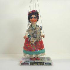 Frida Kahlo Art Doll Marionette Embellished Vintage 50s Mexican Puppet Mexican   eBay