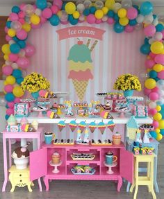 27 Ideas Birthday Party Themes Ice Cream For 2019 Ice Cream Theme, Ice Cream Party, First Birthday Parties, Birthday Party Decorations, Candy Themed Party, Popsicle Party, Maya, Inspiration, Ideas Party