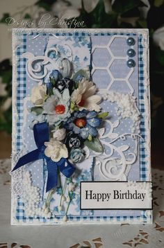 Flowers, Ribbons and Pearls: Birthday Blue . Arts And Crafts, Paper Crafts, Diy Crafts, Birthday Cards, Happy Birthday, Shabby Chic Cards, Wild Orchid, Create And Craft, I Card