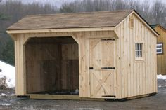 Customize an Amish-built horse shelter with Alan's Factory Outlet and get a great price on a high-quality run-in shed for your animals. Order today and we'll deliver your horse shed anywhere in VA. Horse Shed, Horse Stalls, Horse Barns, 10x10 Shed Plans, Free Shed Plans, Horse Shelter, Animal Shelter, Sheep Shelter, Yard Sheds