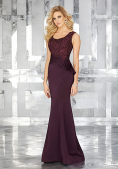 Crepe Mother of the Occasion Gown with Beaded Embroidey Details on Bodice
