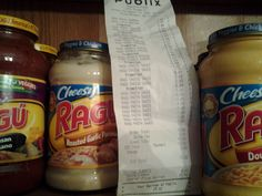 Publix Retail $43.04 after coupons, $13.52 OOP! For sixteen jars of Pasta Sauce!