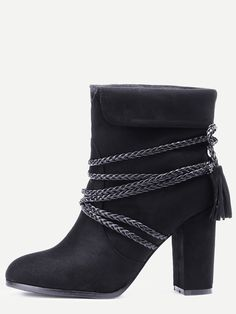 Black Braided Strap Detail Fold Over Boots — 0.00 € -------------color: Black size: US11,US6.5,US6,US8.5,US8