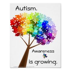 autism | Puzzle Tree Autism Awareness Poster from Zazzle.com
