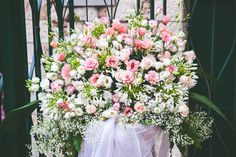 White, cream and pink shades, lisianthus, roses, agapantus. Fresh Flowers, Flower Arrangements, Wedding Ceremony, Floral Wreath, Wedding Inspiration, Roses, Shades, Wreaths, Cream