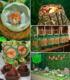 Dino themed birthday party with lots of really fun ideas via Kara's Party Ideas Kara Allen KarasPartyIdeas.com #dinosaurparty #dinosaurcake ...