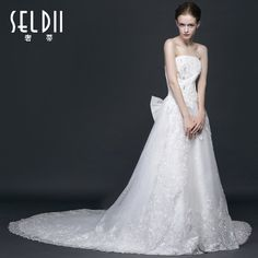 Di extravagant wedding dress 2014 new fashion long trailing bride wedding Bra straps Slim minimalist