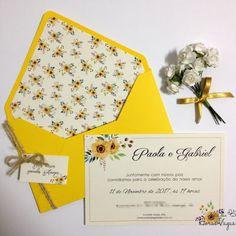 convite de casamento ou aniversário delicado envelope colorido forrado estampa floral aquarelado boho chic