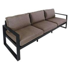 Baltic 82 in. Black Aluminum All-Weather Casual Patio Sofa with Gray Cushions