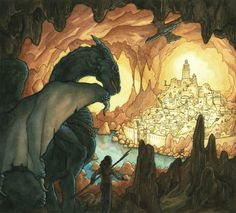 Original Watercolor Painting  Cavern Dragon by albaillustration, $300.00