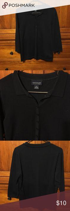 Ann Taylor navy shirt 3/4 sleeve navy silk/nylon/cotton blend. EUC. Ann Taylor Tops