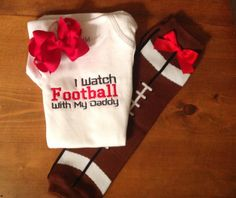 I watch football with my daddy bodysuit, football leg warmers, and matching red bow set great baby shower gift on Etsy, $29.00