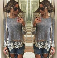 Lace detail long sleeve Brand new  never worn  Grey long sleeve with beautiful lace detail on bottom   SUPER SOFT Tops Tees - Long Sleeve
