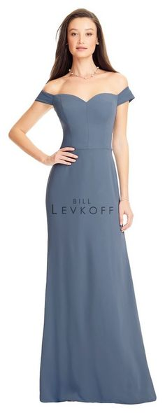 58c8fb588fc Style 1561 from Bill Levkoff is an off the shoulder Hamlet Crrepe  bridesmaid gown that has a sweetheart neckline