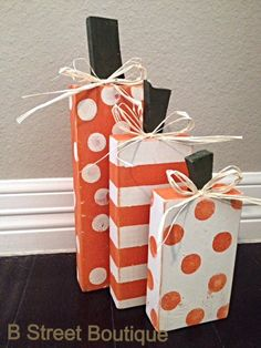 Set of 3 Wooden Pumpkins by bstreetboutique on Etsy, $18.00