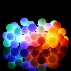 ProGreen Outdoor String Lights 187ft 40 LED Waterproof Ball Lights 8 Lighting Modes Dimmable Remote Ball Battery Powered Starry Fairy String lights for GardenChristmas Tree Parties Multi Color -- See this great product.