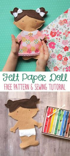 So stinkin' cute! This DIY felt paper doll free sewing pattern and tutorial is the perfect handmade gift idea for kids who love pretend play and dress up.