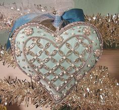 """a Beautiful beaded heart ornament from my gal """"Silent But … Christmas Hearts, Felt Christmas, Christmas Ornaments, Beaded Ornaments, Felt Ornaments, Valentine Crafts, Valentines, Fabric Hearts, I Love Heart"""