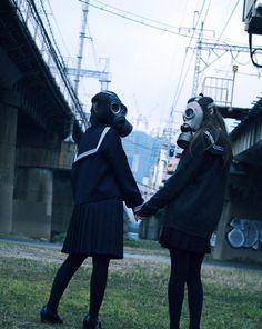 girl, gas mask, and japan resmi