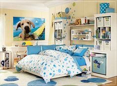 Beauty Good Girl Bedroom Ideas: Beautiful Girl Bedroom Ideas With Make Your Own Wallpaper Style White And Bluer Carpet Also Built In Book Shelves And White Computer Cabinets ~ sagatic.com Bedroom Design Inspiration