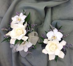 Gardenia and orchid corsage and boutonniere by Nancy at Belton Hyvee.