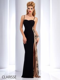 Clarisse Long, Black, Sexy, Formfitting, 2016 Prom Dress Style 2817. Features a sexy high leg slit, unique one-sided sequins up the leg, sexy spaghetti straps, and a low back. Available in sizes 0-14.