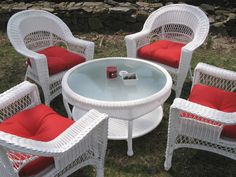White and Red themed Wicker Conversation Chat Group! wicker wicker furniture outdoor wicker outdoor furniture red white outdoors