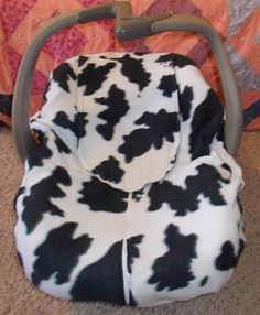 Black and White Cow Print Fleece Green Flannel Car by TEJAKids, $30.00