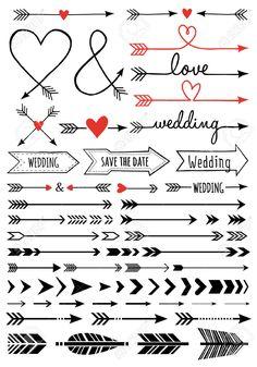 handgetekende bruiloft pijlen, set van vector design elementen