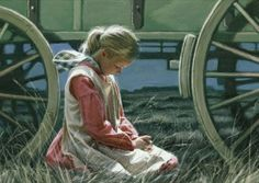 mormon pioneer girl kneeling in prayer