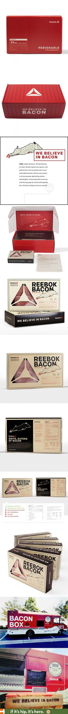 Reebok Bacon package design, food truck design and branding